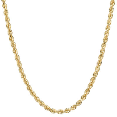"14K Yellow Gold 2.5mm 24"" Hollow Glitter Rope Chain"