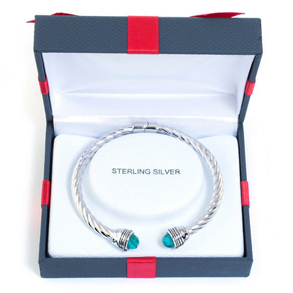 Womens Blue Turquoise Sterling Silver Bangle Bracelet