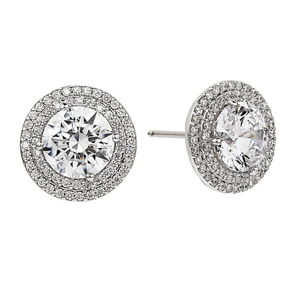 Greater Than 6 CT. T.W. Round White Cubic Zirconia Sterling Silver Stud Earrings