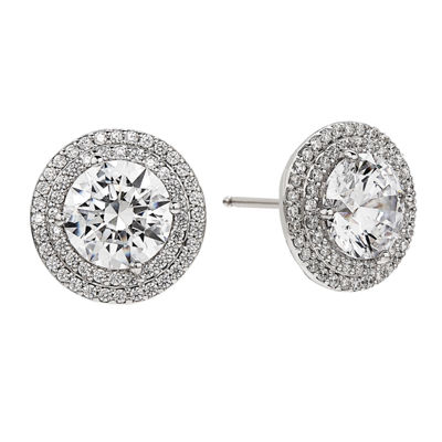 Greater Than 6 CT. T.W. White Cubic Zirconia Sterling Silver 13mm Stud Earrings