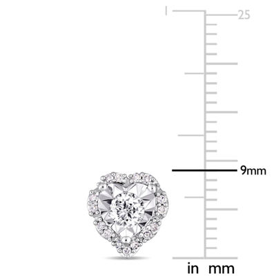 Laura Asley 1/3 CT. T.W. Genuine White Diamond 8.6mm Stud Earrings
