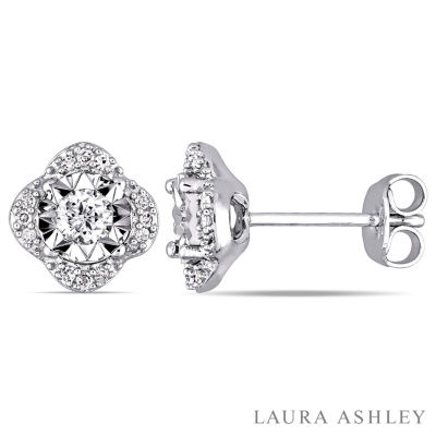 Laura Ashley 1/3 CT. T.W. Round White Diamond Sterling Silver Stud Earrings