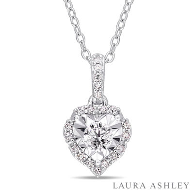 Laura Ashley Womens 1/5 CT. T.W. Genuine White Diamond Sterling Silver Heart Pendant Necklace