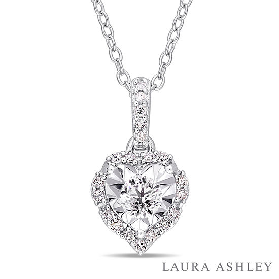 Laura Ashley Womens 1 5 Ct Tw Genuine White Diamond Sterling Silver Heart Pendant Necklace