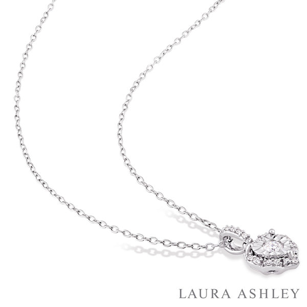 Laura Ashley Womens 1/5 CT. T.W. White Diamond Sterling Silver Pendant Necklace