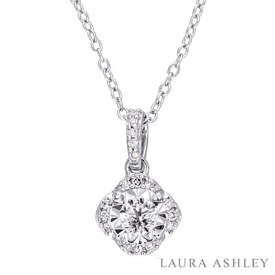 Laura Ashley Womens 1/5 CT. T.W. Genuine White Diamond Sterling Silver Pendant Necklace