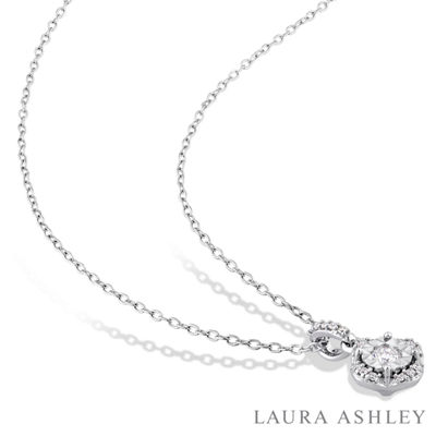 Laura Asley Womens 1/5 CT. T.W. Genuine White Diamond Sterling Silver Pendant Necklace