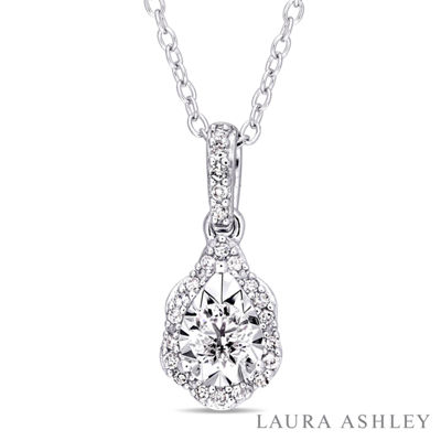 Laura Asley Womens 1/5 CT. T.W. Genuine White Diamond Sterling Silver Oval Pendant Necklace