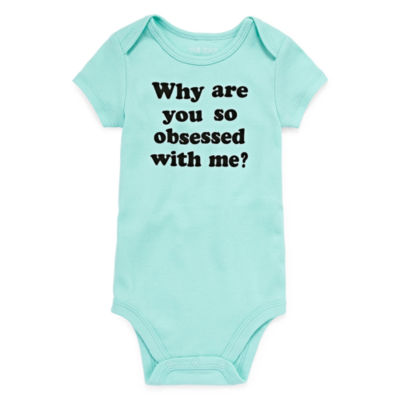 """Okie Dokie """"Why Are You So Obsessed With Me"""" Short Sleeve Slogan Bodysuit - Baby NB-24M"""