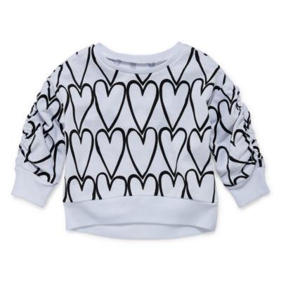 Okie Dokie Heart Print Crew Neck Sweatshirt - Baby Girl NB-24M