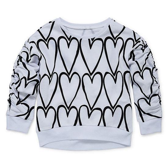 Okie Dokie Girls Crew Neck Long Sleeve Sweatshirt - Toddler
