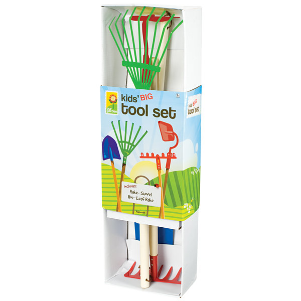 Kids Garden Tool Set- Garden Rake, Spade, Hoe And Leaf Rake