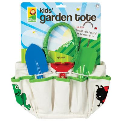 Kids' Garden Tote With Trowel, Rake & Shovel