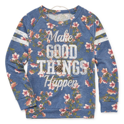 Knitworks Floral Varsity Graphic Sweatshirt with Necklace - Girls' 4-16 & Plus