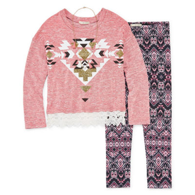Self Esteem LS Crochet Hem Sweatshirt Legging Set with Necklace - Girls' 4-16 & Plus
