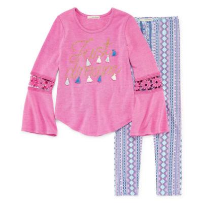 Self Esteem LS Crochet Trim Bell Sleeve Graphic Legging Set - Girls' 4-16 & Plus