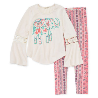 Self Esteem LS Crochet Trim Bell Sleeve Graphic Legging Set - Girls' 4-16 & Plus