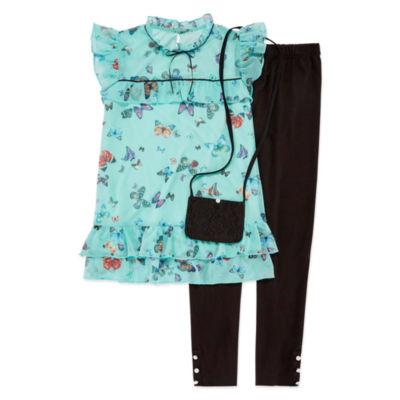 Knit Works SS Butterfly Top Legging Set with Purse - Girls' 4-16 & Plus