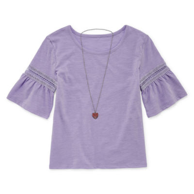 Arizona 3/4 Bell Sleeve Top with Necklace - Girls' 4-16 & Plus