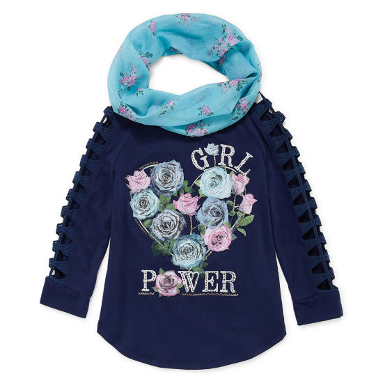 Arizona Long Open Crochet Sleeve Graphic Top with Scarf - Girls' 4-16 & Plus