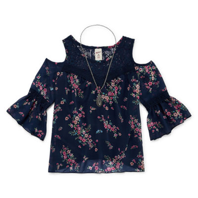Arizona 3/4 Sleeve Lace Trim Cold Shoulder Top with Necklace - Girls' 4-16 & Plus