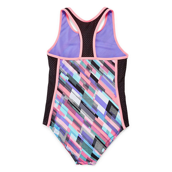 Free Country Geometric One Piece Swimsuit Big Kid Girls