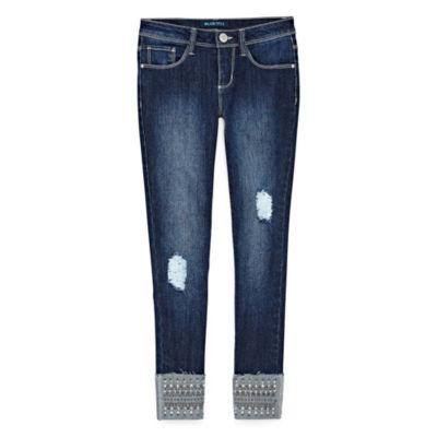 Squeeze Studded Destruction Cuff Skinny Jean - Big Girls