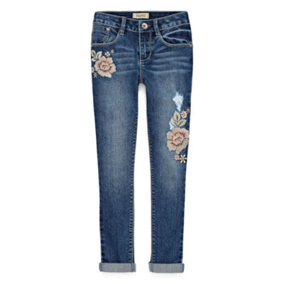 Squeeze Embroidery Floral Skinny Jean - Big Girls