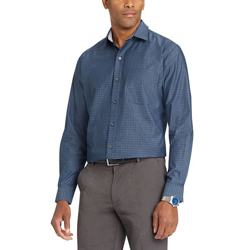 Van Heusen Long Sleeve Diamond Button-Front Shirt