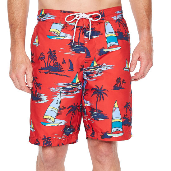 St. John's Bay Red Sailboat Abstract Swim Shorts