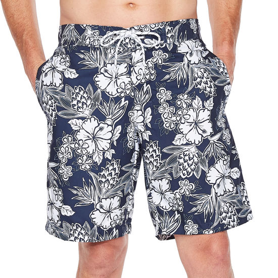 St. John's Bay Navy Hibiscus Swim Shorts