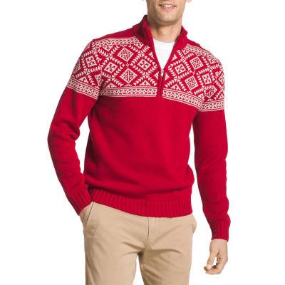 Izod Fairisle Quarter Zip Long Sleeve Sweater