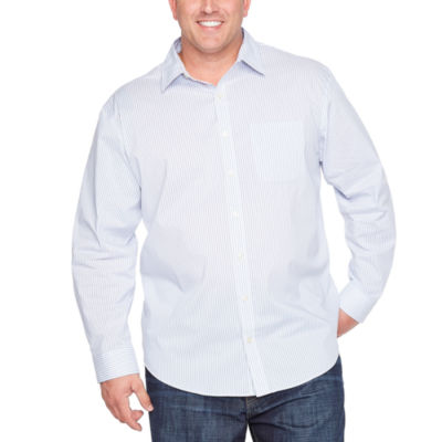 Van Heusen Traveler Stretch Non Iorn Long Sleeve Checked Button-Front Shirt-Big and Tall
