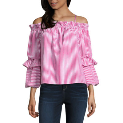 by&by Long Sleeve Square Neck Poplin Ruffled Blouse-Juniors