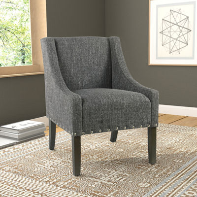 HomePop Modern Swoop Accent Chair with Nailheads