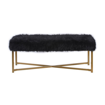 Home Pop Faux Fur Bench