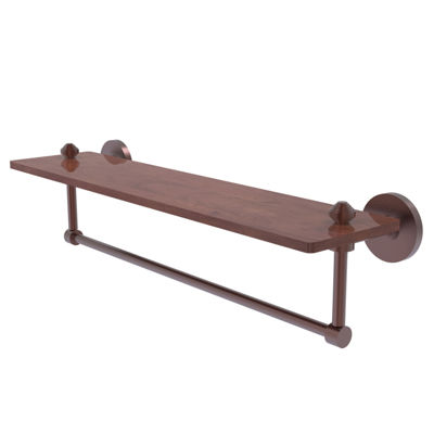 Allied Brass South Beach Collection 22 IN Solid Ipe Ironwood Shelf With Integrated Towel Bar
