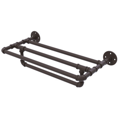 Allied Brass Pipeline Collection 36 IN Wall Mounted Towel Shelf With Towel Bar