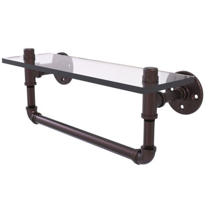 Allied Brass Pipeline Collection 16 IN Glass ShelfWith Towel Bar