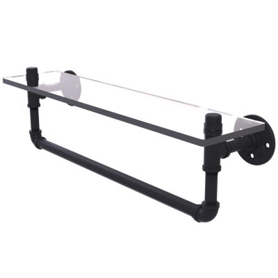 Allied Brass Pipeline Collection 22 IN Glass ShelfWith Towel Bar