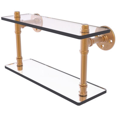 Allied Brass Pipeline Collection 16 IN Double Glass Shelf