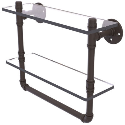 Allied Brass Pipeline Collection 16 IN Doulbe Glass Shelf With Towel Bar