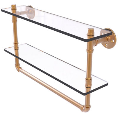 Allied Brass Pipeline Collection 22 IN Doulbe Glass Shelf With Towel Bar