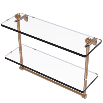Allied Brass 16 IN Two Tiered Glass Shelf With Integrated Towel Bar