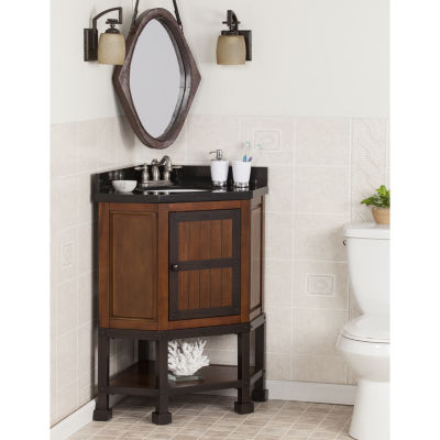 Southlake Furniture Corner Bath Vanity Sink with Granite Top