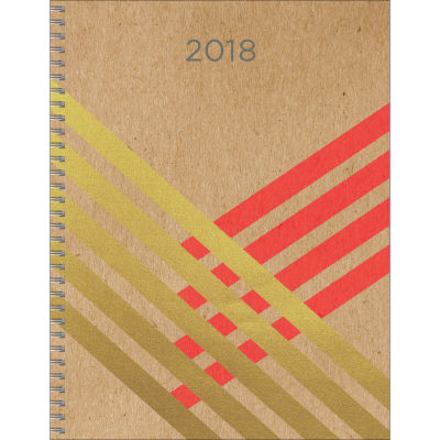 2018 Gold Kraft Large Weekly Monthly Planner