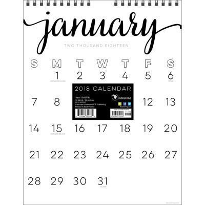 2018 Black & White Script Monthly Wall Calendar