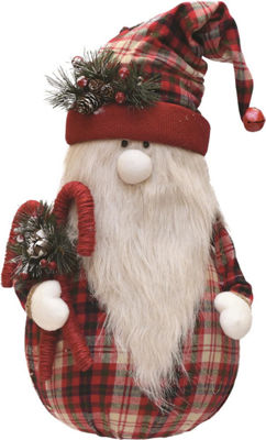 "28"" Red and White Plaid Sitting Santa Gnome with Candy Canes Plush Table Top Christmas Figure"""