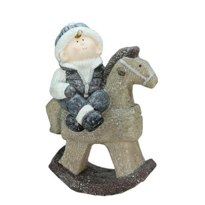 "18"" Sparkly Little Boy on Rocking Horse DecorativeChristmas Tabletop Figure"""