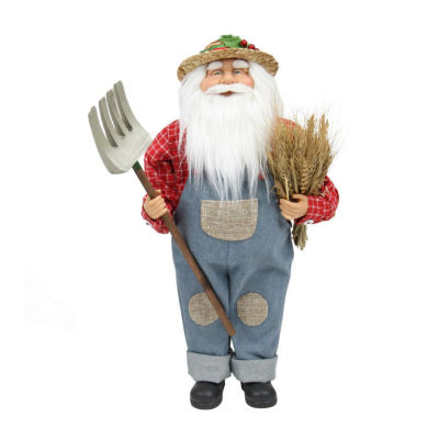 "18"" Country Heritage Santa Claus Holding a Sheaf of Wheat Christmas Decoration"""